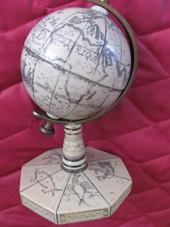 Small Heavy Etched Globe- Unique