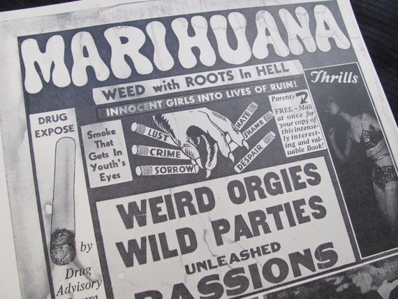 Reprint from a Antique Marihuana Propaganda Poster 1930's 11 x 14 Pot Weed