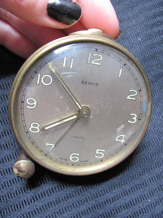 Antique Small Round Alarm Clock by Semca - Swiss Made
