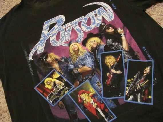 Awesome Vintage Black POISON Concert Tour 1980s Bret Michaels TShirt Size XL