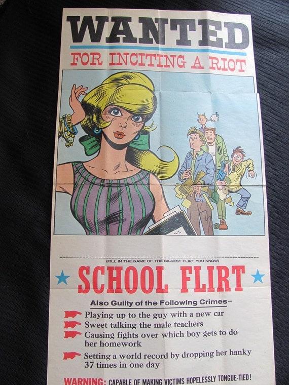 Vintage WANTED Poster - SCHOOL FLIRT 10 x 18