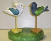 DIY - WEDDING Cake TOPPER - Etsy Wedding Bluebird & Chickadee - Heart bases -  Bluebird of Happiness  by Will Kay Studios
