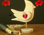 DIY Cardinal on HEART Pedestal - Say I Love you - WEDDING Place Cards - Wedding Cake Topper -