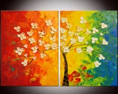 Free shipping - Original Modern Abstract Flowers Heavy Textured Large Painting 26x40 by Helen - Impasto Painting