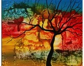 Art painting Abstract Original Modern Colorful red Tree Painting by Helen - Sunset Tree Painting