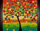 Original Modern Abstract Colorful Tree Painting by Helen - Custom work