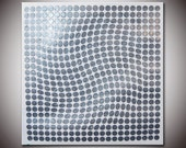 Original Modern Abstract Large Abstract  Painting Metallic Silver Textured 16x16 - COA