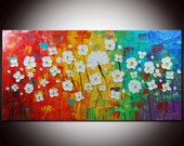 ORIGINAL abstract, White flowers, Pallete Knife, impasto painting, FREE SHIPPING, Blue painting, Red Panting, Field painting, Daisies Art