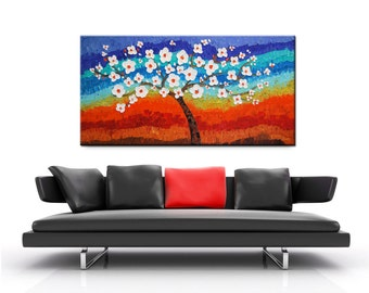Abstract landscape, Impasto Tree Painting, Original Modern Abstract Tree, Textured Impasto, Large Painting, Heavy Textured, Whimsical Art