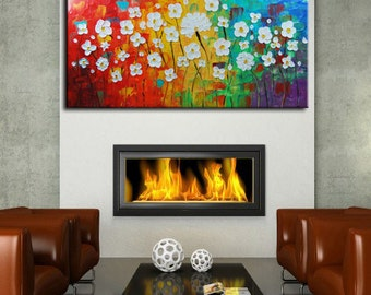 ORIGINAL abstract, White flowers, Pallete Knife, impasto painting, Blue painting, Field painting, Daisies Art Made to order