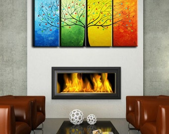 Large Abstract Tree, Modern Large 4 Panels Painting 24x48, Textured Impasto Flower Tree, Oil Painting, huge tree, thick texture,seasons tree