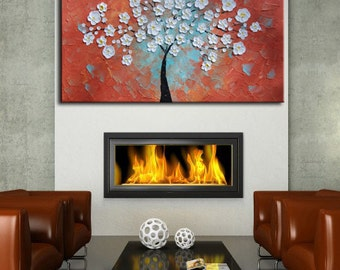 Blossom Oil Painting, Modern Palette Knife Tree,White Flowers,original Large Abstract,Red Landscape,Blue tree Art,red blue tree,impasto tree