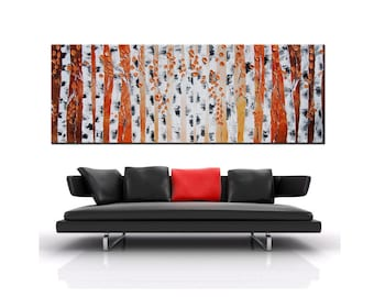 Original Modern painting, pink painting, Impasto Large Forest Painting, Abstract Forest, Abstract Birch forest, oil painting, white trees