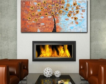 ORIGINAL Large Abstract, Contemporary Gold Flowers,Blue Landscape,Impasto Painting, Ready to Hang, Golden Tree, large metallic painting