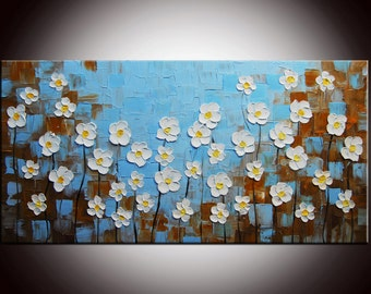 Blue sky  painting, White Flowers,Field Painting, Blue landscape,Flowers Field, Impasto Painting, Daisies Field, blue painting , baby blue