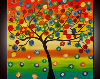 Original Modern Abstract, Colorful Tree Painting, Multicolors Painting, Ready to Hang,Gallery Canvas, ontemporary Fine Art, Circles Painting