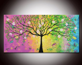 Original Modern Abstract Large Abstract  Painting 24x48 - Textured Impasto Flower Tree Painting by Helen