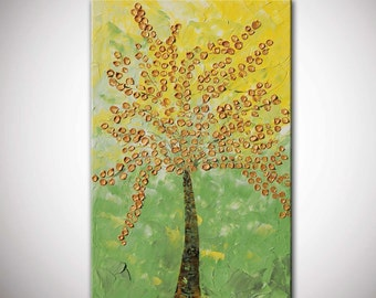 Large original golden tree, Large Abstract Contemporary Golden Flowers,blossom Tree Painting,Thick Texture,Ready to Hang, metallic painting