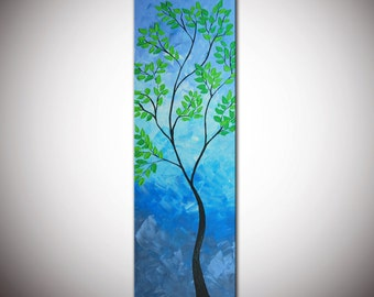 "Blue abstract tree, Original Modern Abstract Large Abstract  Painting 36""- Textured Impasto Tree Painting"