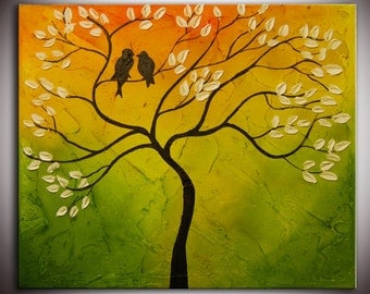 Original Modern Abstract Large Abstract  Painting - Impasto Tree Birds Painting - Love Birds painting - Heavy textured