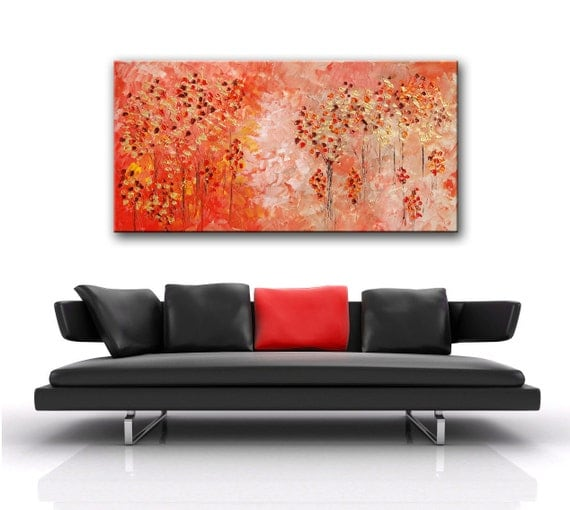 Abstract Forest painting, abstract red painting, red forest, impasto red forest, pink painting, metallic art, Original Forest, free shipping