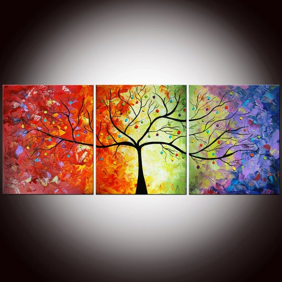 Original Modern Colorful Large Abstract Textured Impasto Knife Tree Painting 60x24