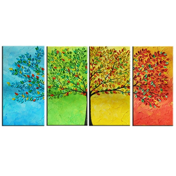 Large Tree Abstract Painting - Modern Large - 4 Panels Painting 24x48 - Textured Impasto Tree Painting