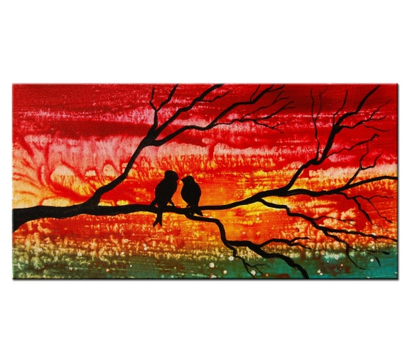 Art Painting Abstract - Red Original Modern Abstract Tree Painting by Helen - Sunset Tree Birds Painting