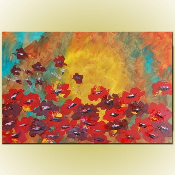Free shipping - Original Modern Abstract Flowers Large Painting 24x36 by Helen