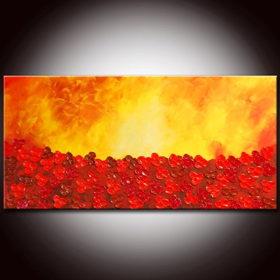 Red Abstract Art, Red Flowers,Red landscape,orange painting,large abstract,abstract painting, sunset painting, poppies field