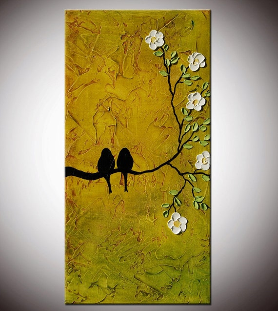 Abstract Birds, Love birds,birds Painting, lovers art,Textured painting,Birds on Tree, Impasto Flowers Painting,white flowers, free shipping