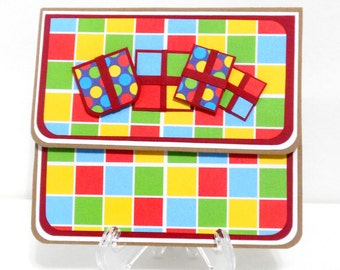CLEARANCE- Rainbow Checkered: Gift Card Holder, Gift Card Envelope, Gift Card Box, Money Holder