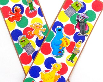 Sesame Street Inspired: Paper Bookmarks- Set of 2- approx. 2 1/2 x  7 inches