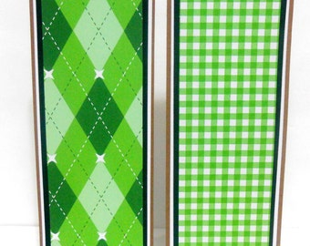 CLEARANCE- Preppy: Paper Bookmarks Set of 2- approx. 2 1/2 x 7 inches