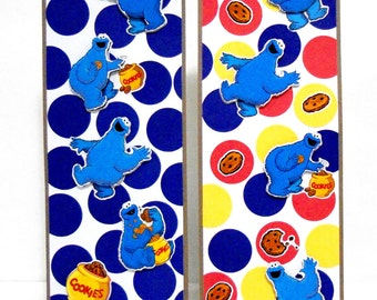 Cookie Monster Inspired: Paper Bookmarks Set of 2- approx. 2 1/2 x 7 inches