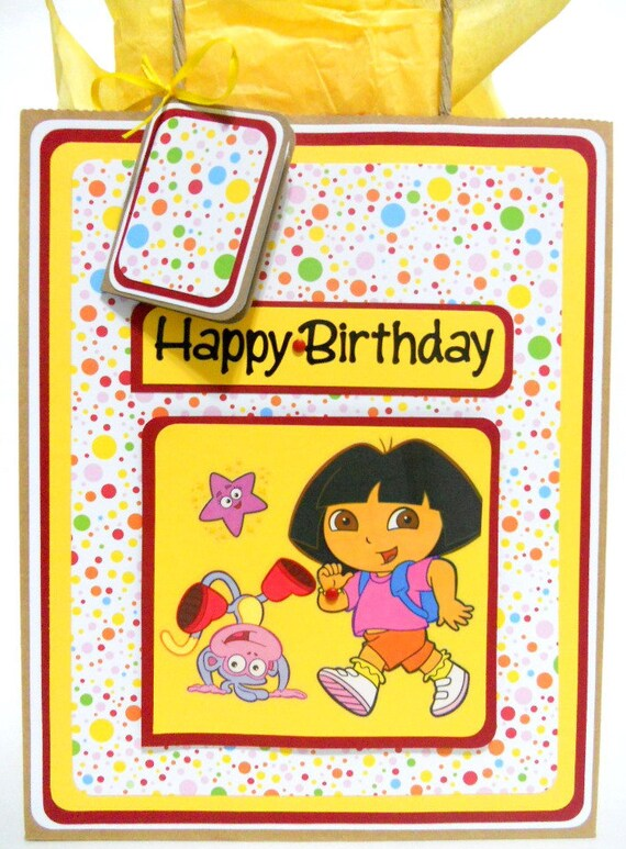 Dora Birthday Gift Bag with Matching Gift Tag