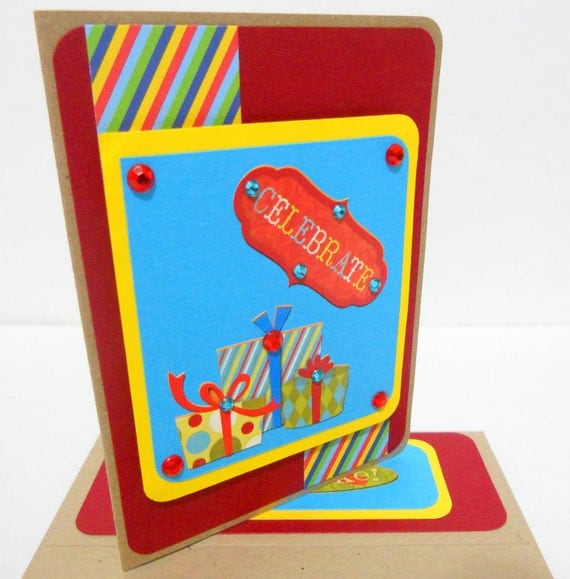 CLEARANCE-Happy Birthday Celebrate Card with Matching Embellished Envelope