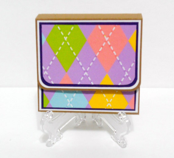 CLEARANCE-Argyle Post It Holder with Velcro Closure