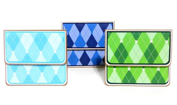Men Argyle Gift Card Holders Set of 3