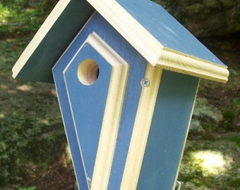 Wren Or Chickadee BirdHouse, Hanging Bird Houses Painted Blue