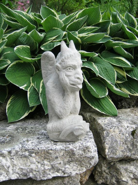 Items similar to gargoyle concrete garden statue gothic creature halloween decor on etsy - Cement cloth garden ornaments ...