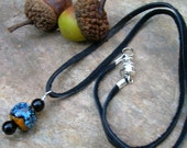Mens leather cord necklace blue black glass mens jewelry leather necklace