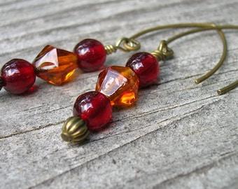 Beaded earrings handmade jewelry glass bead earrings ruby red burnt orange brass