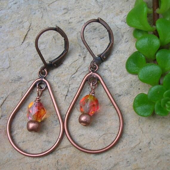 Copper hoop earrings everyday earrings beaded jewelry orange beaded earrings Fiery Hoops