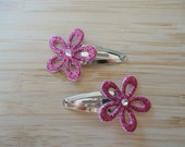 Glitter flower Snap clips- dark pink