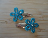 Glitter flower Snap clips- dark blue