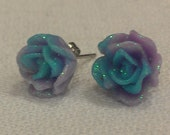 Blue and purple resin rose earrings