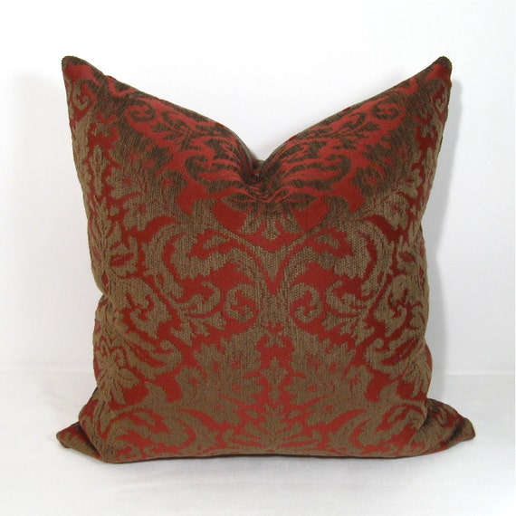 SALE - Burgundy  Pillow Cover - Wine Red Cushion - Decorative Bronze Damask - Chenille - Holiday Decor - 18 inch