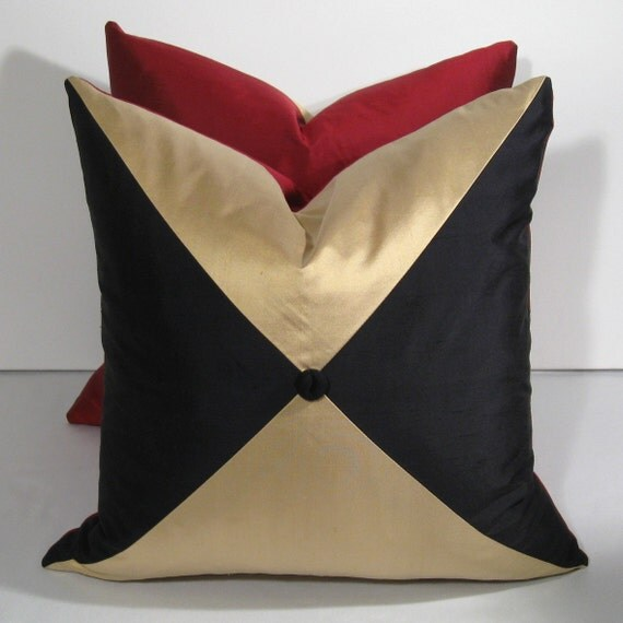 """SALE - Red Silk Pillow Cover - Black Cream Red Pillow - Decorative Cushion - Color Block - Colorblock - Holiday Harlequin 18"""" x 18 inch"""