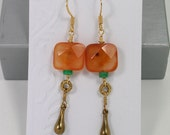 Faceted Carnelian and Turquoise Earrings w/ Vintage Brass, 14kt Gold Earring Wires